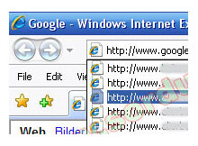 internet explorer'in URL Listesini Silin