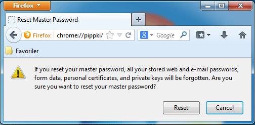 firefox master şifresini silme