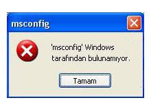 Msconfig komutunu kullanamıyorsanız