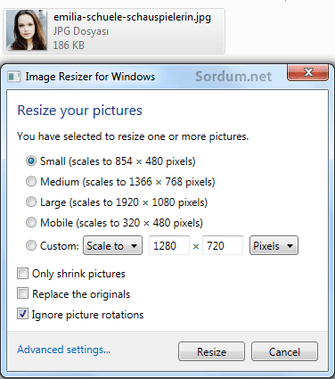 Resize image seçenekleri