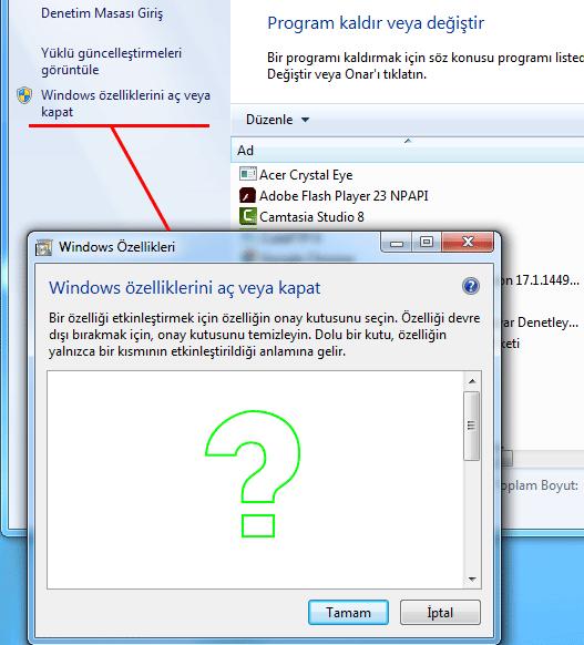 Boş windows özellikleri listesi