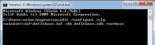 Registry izinleri reset komutu