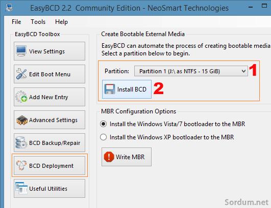 Easybcd ile bootable yap