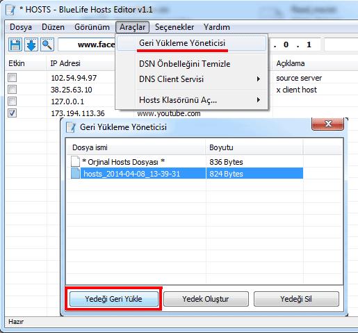 bl yasak aşmak default hosts dosyası