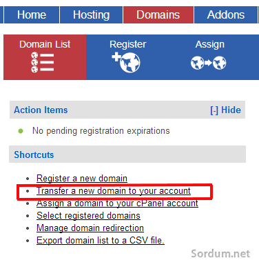 transfer a domain