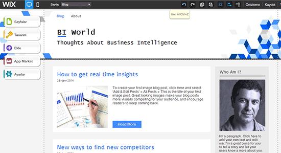 wix sayfa tasarim