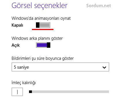 Windows 8.1 de animasyon yok
