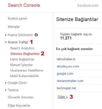 Google webmaster tools sitenize baglantilar