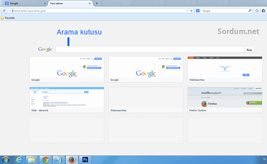 Firefox yeni tab arama kutusu