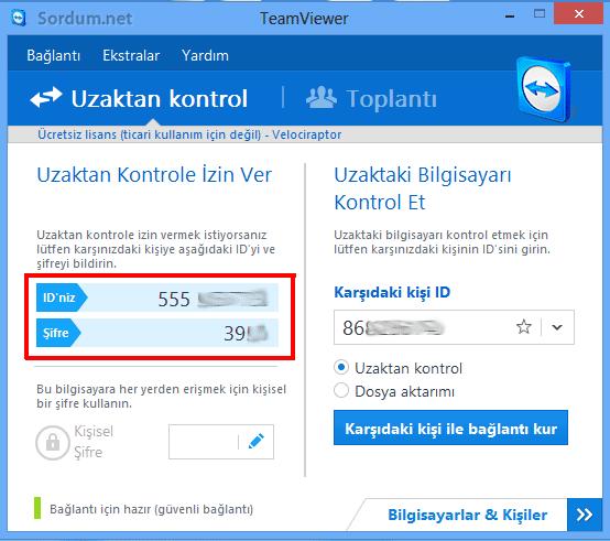 Teamviewer bağlantısında id ve şifre