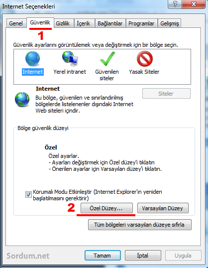 İnternet explorer güvenlik tabı