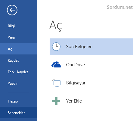Office 2013 seçnekler