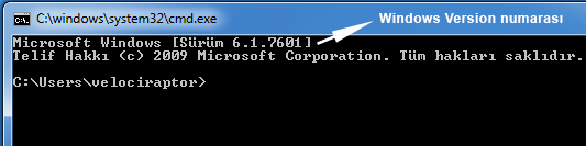 Windows version numarası Cmd