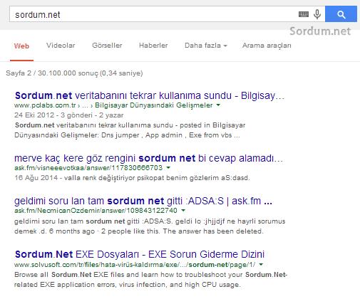 Google arama sonucu