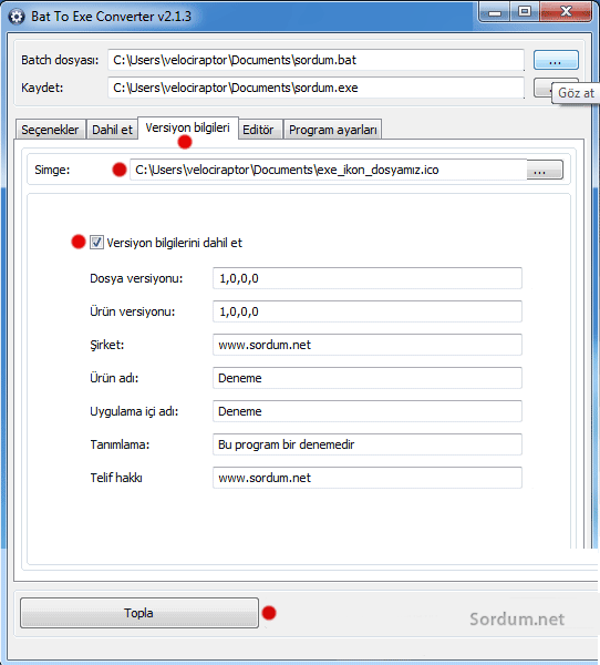 bat dosyasını exe ye çevirme version bilgileri