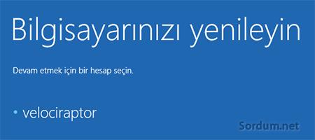 Windows 8.1 bilgisayarı yenile