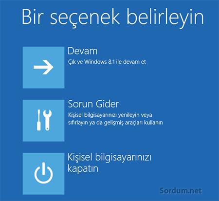 Windows 8.1 kurtarma secenekleri