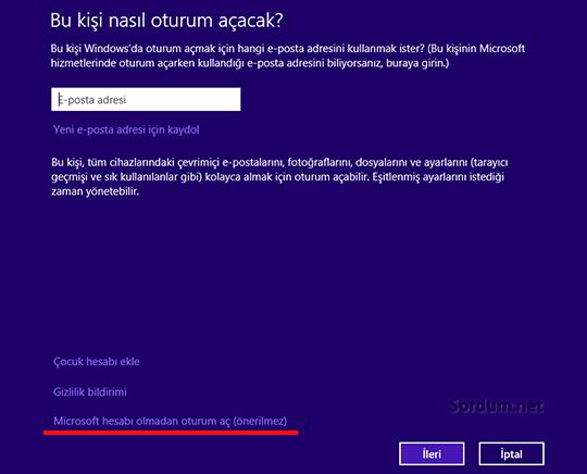 Microsoft hesabı olmadan oturum aç