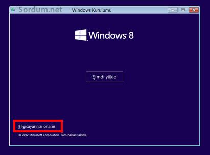 windows_8.1 bilgisayarı onar