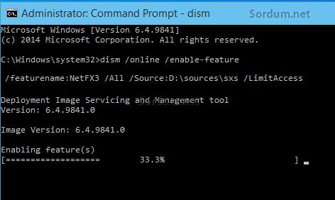 dism ile .NET Framework 3.5 kur
