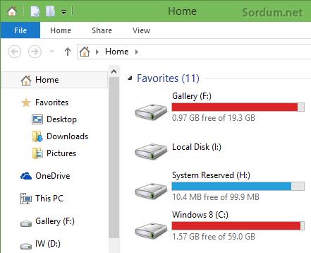 Windows 10 Home altında dizinler