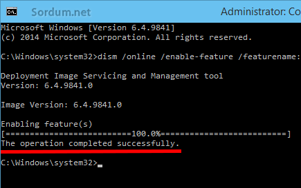 .NET Framework 3.5 başarılı şekilde kuruldu