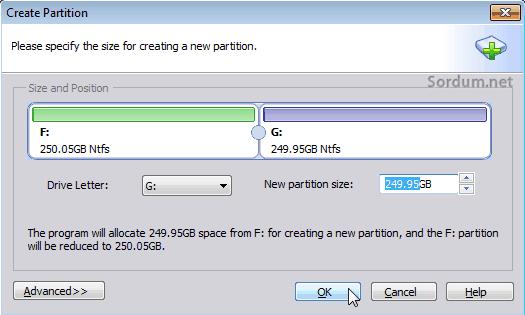 aomei partition büyüklük belirle