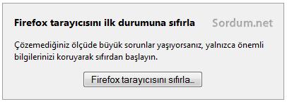 firefox tarayicisini sifirla