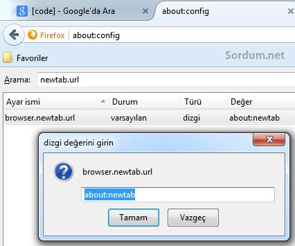 Firefox new tab değeri