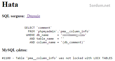 pma_column_info was not locked with LOCK TABLES