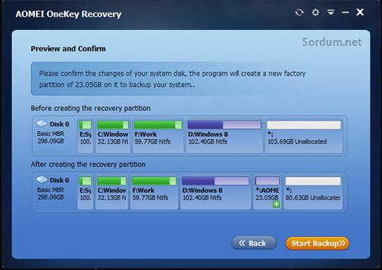 AOMEI OneKey Recovery ile kurtarma bölümü oluşturma