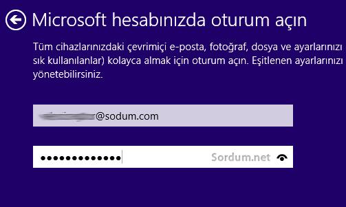 microsoft hesabı ile login