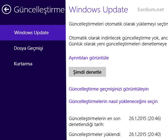 Windows 8.1 de güncellemeleri şimdi denetle