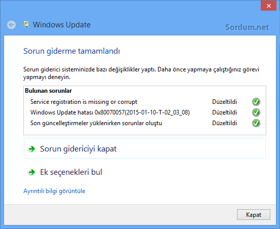 windows update sorun giderildi