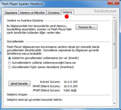 flash player ayarları yöneticisinde seçimler aktif