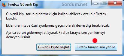 firefox tarayıcısını yenile