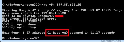 nmap host is up