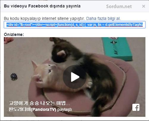facebook videosu gömme