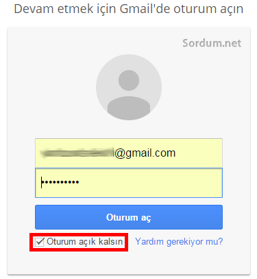 gmail oturum açık kalsın