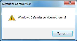 Defender service not found