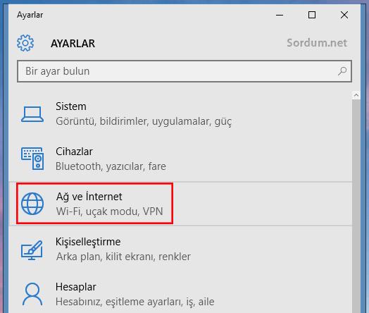 Windows 10 ağ ve internet