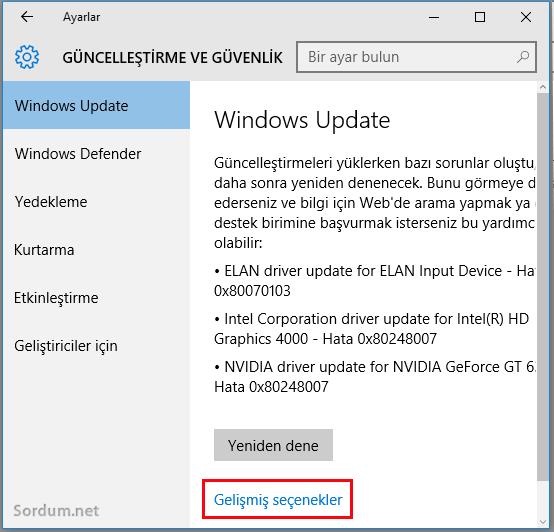 Windows 10 Gelişmiş seçeneği