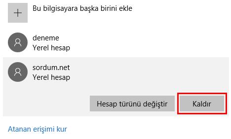Windows 10 da hesap kaldırma