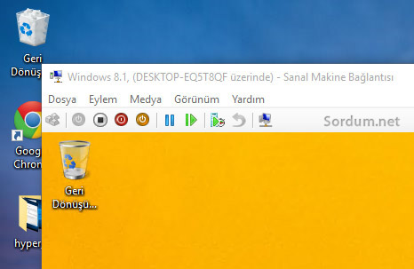 hyper v desktopta sanal makina