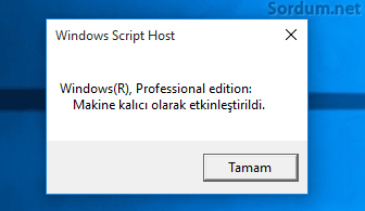 Windows 10 kalıcı aktif
