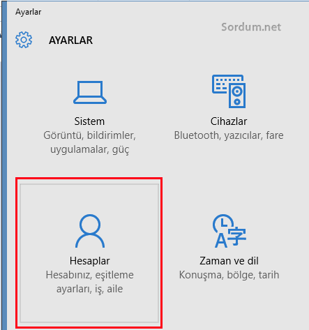 Windows 10 hesap ayarları
