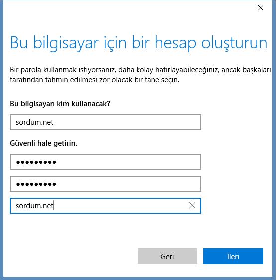 Windows 10 da standart kullanıcı oluşturma son aşama