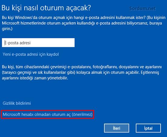 Microsoft hesabı Olmadan oturum açma