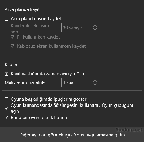 Windows 10 oyun ayar ekranı
