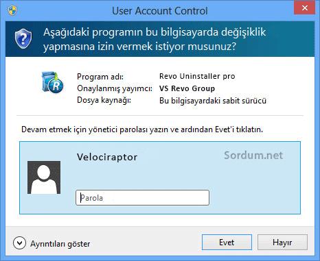 revo admin şifresi istiyor